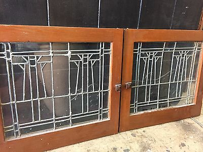 Arts And Crafts Leaded Glass Stickley Style  Craftsman Window Cabinet Doors