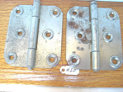 Old Antique Vintage 2 Pc Butt Door Hinges Zinc Plated Steel Removable  Pin # 13