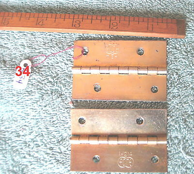 Old Antique Vintage 2 Pc Butt Door Hinges Steel Plated Brass Made In Usa # 34