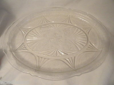 Crystal Royal Lace  Depression Glass Platter 12 1/2 inches wide