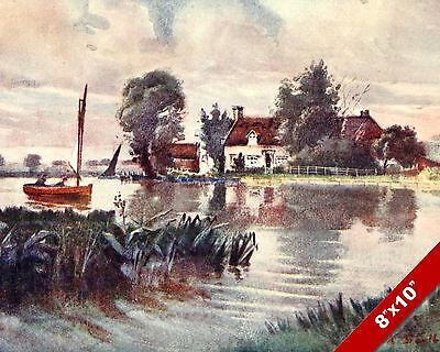 Horning Ferry Norfolk England English Landscape Art Painting Real Canvas Print