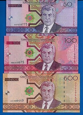 Turkmenistan P-17, P-18, P-19 Uncirculated Banknotes SET # 3 FREE SHIPPING