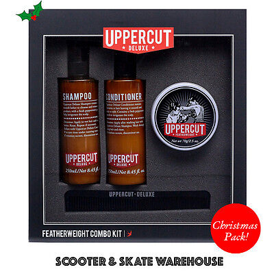 UPPERCUT Deluxe Mens Combo Kit - Featherweight Hair Wax Shampoo Conditioner Comb
