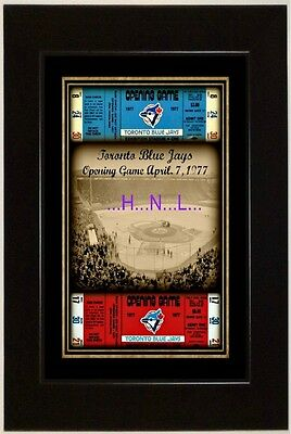 CLASSIC 13x19 TORONTO BLUE JAYS FIRST GAME APRIL 7, 1977 W/ RP TICKETS FRAMED