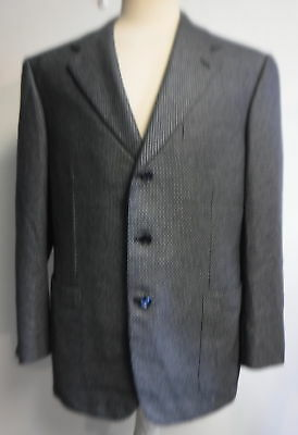 "BRIONI men's 3 button silk/cashmere navy ""S"" print sport coat SZ 42R"