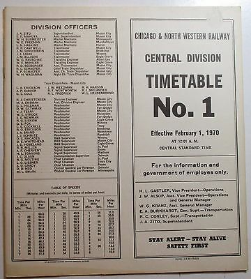Chicago & North Western Railway 1970 Employee Timetable - Central Division