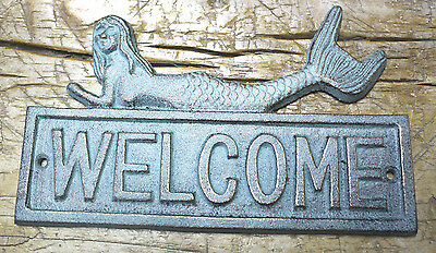 Cast Iron MERMAID WELCOME Plaque Sign Nautical Wall Pool Decor BOAT HOUSE