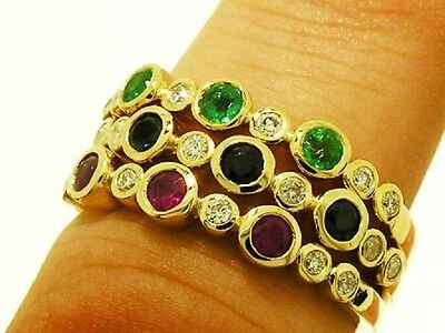 R159 Genuine 9K Solid Gold NATURAL Diamond Sapphire Eternity Ring Trilogy size N