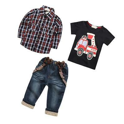 3pcs Toddler Baby Boys Kids Cowboy Shirt + Tops + Jeans Clothes Outfits Set 2-7Y