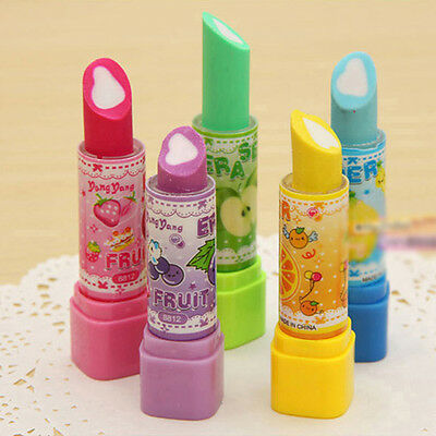 Cute Lipstick Shaped Rotated Style Eraser Rubber Stationery Office Gadget Sale