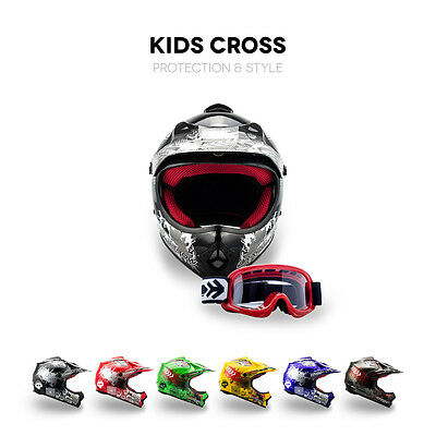Arrow Akc-49 Kinder Cross-Helm + Kids-Helm Motocross Pocketbike + Xs S M L Xl