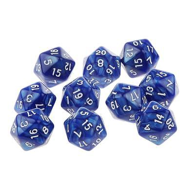 10pcs Twenty Sided Dice D20 Playing Dungeons & Dragons D&D TRPG Games Blue
