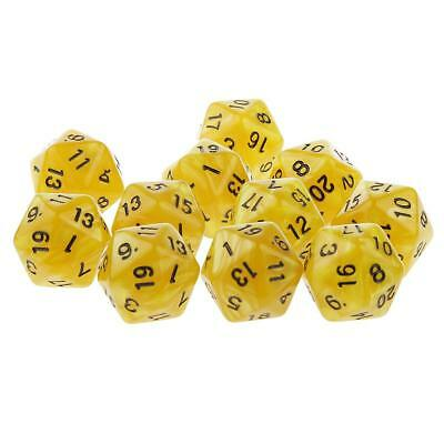 10pcs Twenty Sided Dice D20 Playing Dungeons & Dragons D&D TRPG Games Yellow