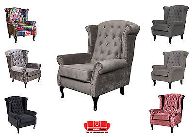 New Wing Back Chair Armchair Chesterfield - Grey and Other Colours