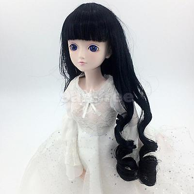 Fashion Black Long Curly Hair Wig for 1/6 BJD SD DZ DOD Dollfie Doll Clothes