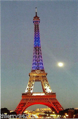 Card Tour Eiffel Tower of Paris FRANCE Blue White Red  Color Flag with Moon Ppal