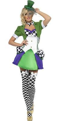 FEVER MISS MAD HATTER COSTUME Alice in Wonderland Fancy Dress Outfit 20907