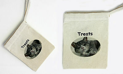 Cotton Treat Bag - Cat Motif. Add your own treats for that special present