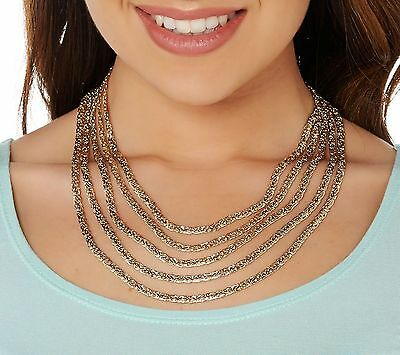 """18"""" 5 Strand Layered Cleopatra Byzantine Chain Necklace Real 14K Yellow Gold QVC"""