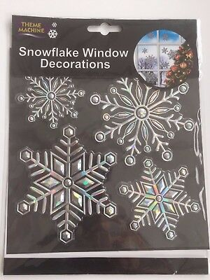 Colourful Reusable Snowflake Christmas Window Stickers Glitter  Decorations