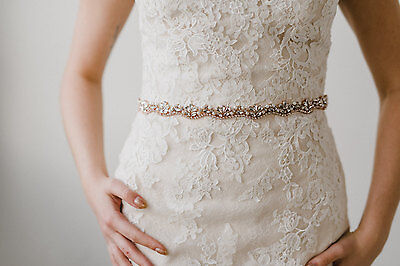 ESTHER Rose Gold Rhinestone Pearl Crystal Marquise Diamante Bridal Belt Sash