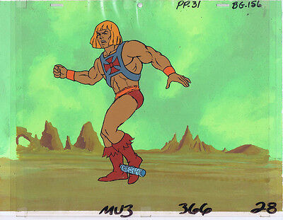 He-Man MOTU Original Production Animation Cel & Hand Painted Background #A8639