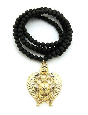 "Egyptian Scarab Amulet Pendant 6mm 30"" Wooden Bead Hip Hop Necklace RC2121G-WBK"