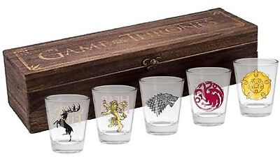 Game of Thrones Set of 5 Shot Glasses In Case