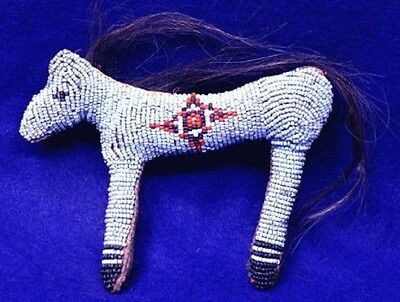 "Vintage 6 3/8"" Northern Plains 1890's - 1930's Beaded Horse Fetish w Horse Hair"