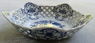 Blue Danube Large 5 Sided Pierced Candy Serving Bowl Japan