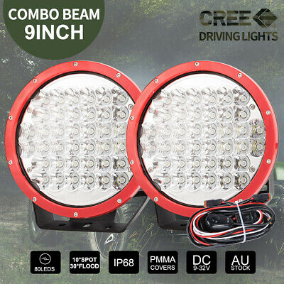 2X 9 inch CREE LED Driving Lights Round Spotlights Red 4x4WD 12V 99999W