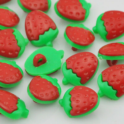 100pcs Red strawberry Plastic Buttons backhole Baby sewing craft PT37