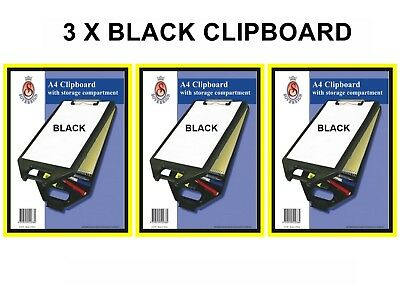 Sovereign A4 Clipboard with Storage Case Black 3 Pack