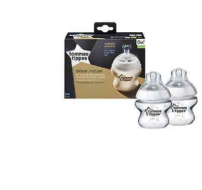 Tommee Tippee Closer to Nature 150ml Easivent Baby Feeding Bottles (Pack of 2)