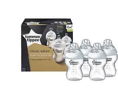 Tommee Tippee 422540 Closer to Nature 260 ml/9fl oz Feeding Bottles (4-pack)