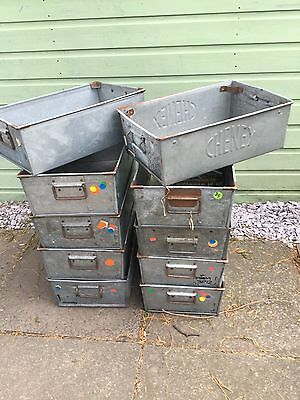 Vintage Antique Galvanised Stacking Tray Containers Drawers Industrial Planter