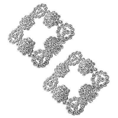 Shoelery Shoe Clip Pair by Erica Giuliani Silver Square French Buckle