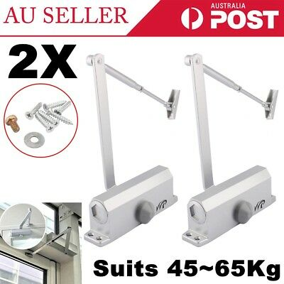 2Pcs Hydraulic Automatic Fire Rated Adjustable Silver Door Closer Suits 45~65Kg