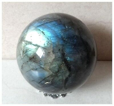 Natural Labradorite Crystal Polished Sphere Collectors Piece Gift + Pewter Stand
