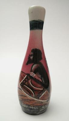 Signed Vande Australian Studio Pottery Handpainted Vase Aboriginal With Label