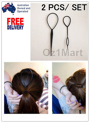 Women Topsy Tail Hair Braid Ponytail Plastic Styling Tool Black Maker Clip Girls