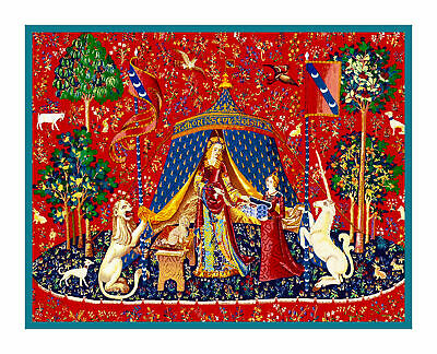 Medieval Lady and Unicorn À Mon Seul Désir Desire Counted Cross Stitch Pattern
