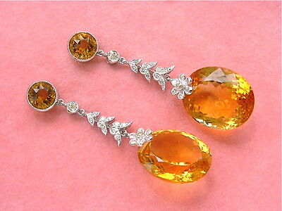 ANTIQUE STYLE EDWARDIAN .60ctw DIAMOND 43ct CITRINE LARGE DROP COCKTAIL EARRINGS