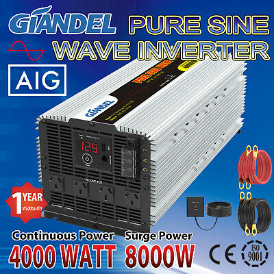 Pure Sine Wave Power Inverter 4000W(8000W Max) 12V-240V With  20 Amp Output Box