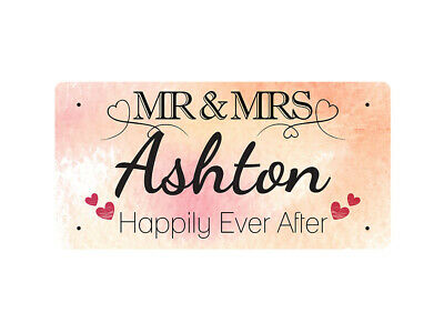 WP_VAL_031 MR & MRS Ashton - Happily Ever After - Metal Wall Plate