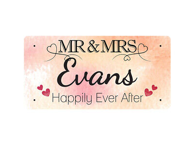 WP_VAL_049 MR & MRS Evans - Happily Ever After - Metal Wall Plate