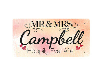 WP_VAL_191 MR & MRS Campbell - Happily Ever After - Metal Wall Plate