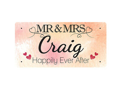 WP_VAL_251 MR & MRS Craig - Happily Ever After - Metal Wall Plate