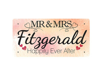 WP_VAL_343 MR & MRS Fitzgerald - Happily Ever After - Metal Wall Plate