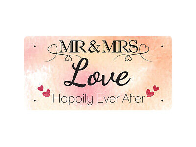 WP_VAL_578 MR & MRS Love - Happily Ever After - Metal Wall Plate
